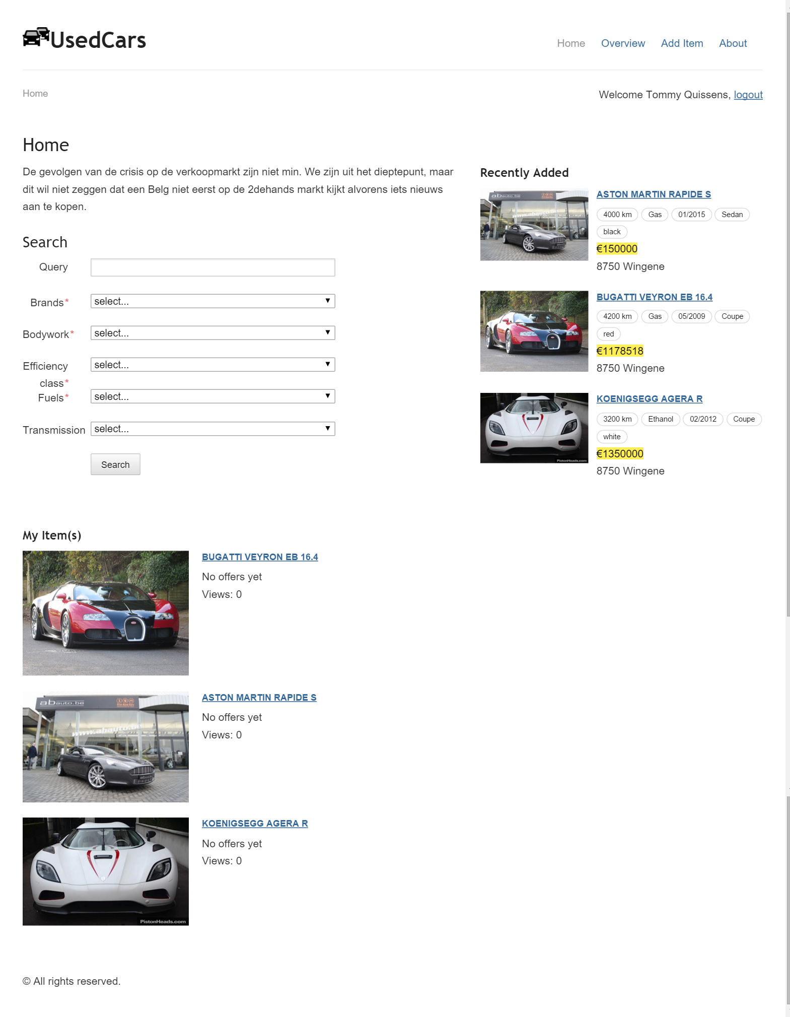 Homepage when logged in (displaying cars owned by user)